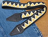 Black & Gold Zig-Zag Cotton USA-made TROPHY Guitar Strap