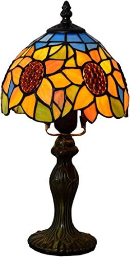GDLight Vintage Tiffany Style Sunflower Table Lamp Pastoral Floral Stained Glass Kids Mini Bedside Desk Lamp