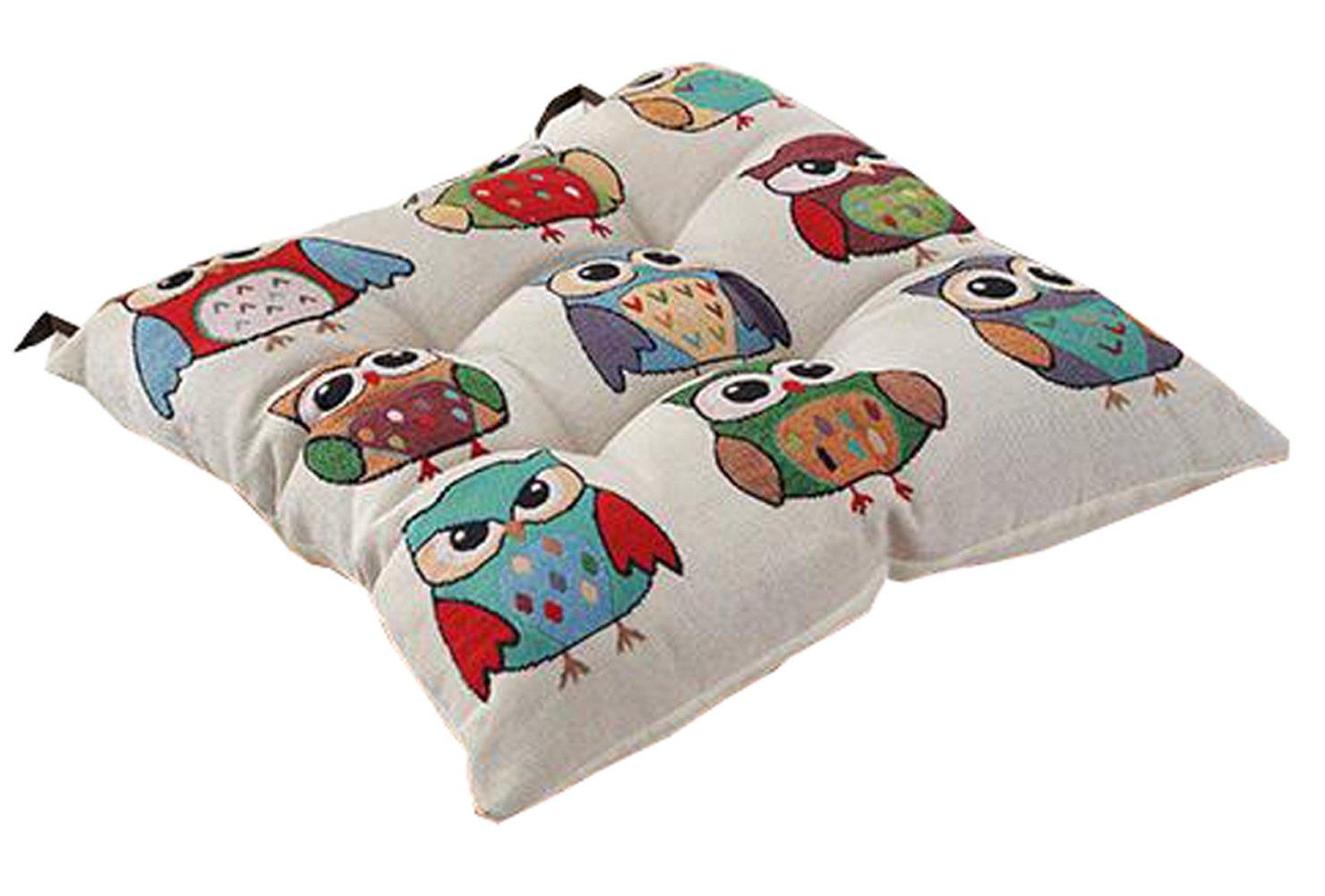 Peacewish Thicker PP Cotton Non-slip Seat Cushion Cute Animal Chair Pad Home Office Car Cushion Containing Straps (Expression)