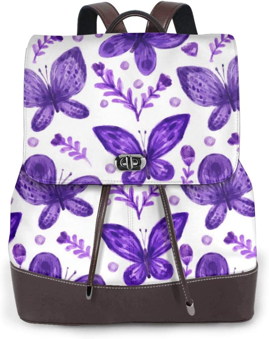 Outdoor Bag And Schoolbag Oximing Purple Butterfly Seamless Background Womens Leather Shoulder Bag