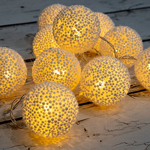 West Ivory 5.75 feet 10 LED String Fairy Light w/Foam Balls Battery Powered Decorative Indoor Outdoor, Warm White
