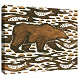 ArtWall Nat Morley 'Fishing Bear' Gallery Wrapped Canvas Artwork, 24 by 32-Inch
