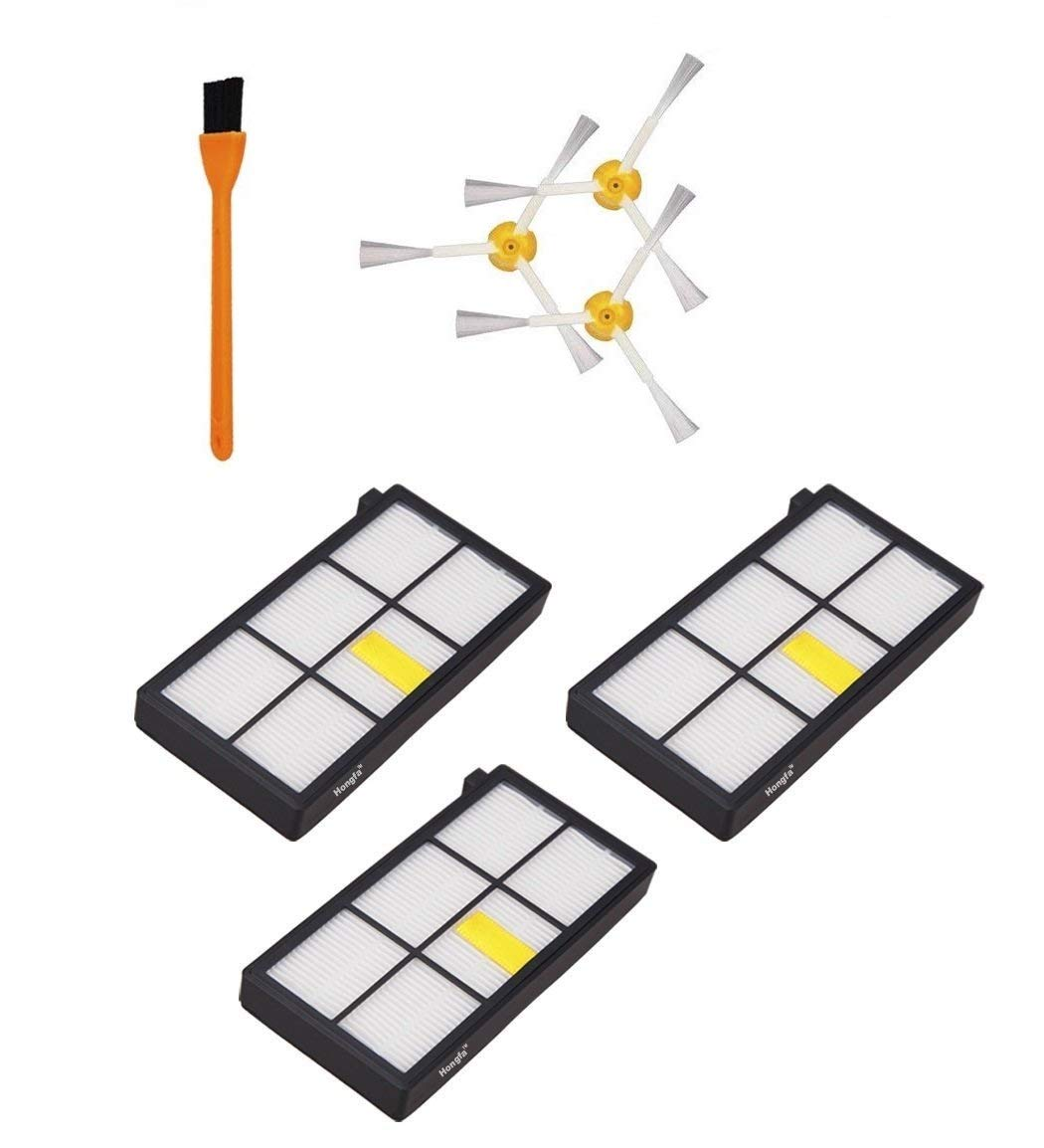 Hongfa 3pcs 980 Hepa Filters Compatible with iRobot Roomba 980 860 880 870 Robotic Vacuum Cleaner and 3pcs Roomba Side Brushes (800 900 Series) Replacement Parts Accessories