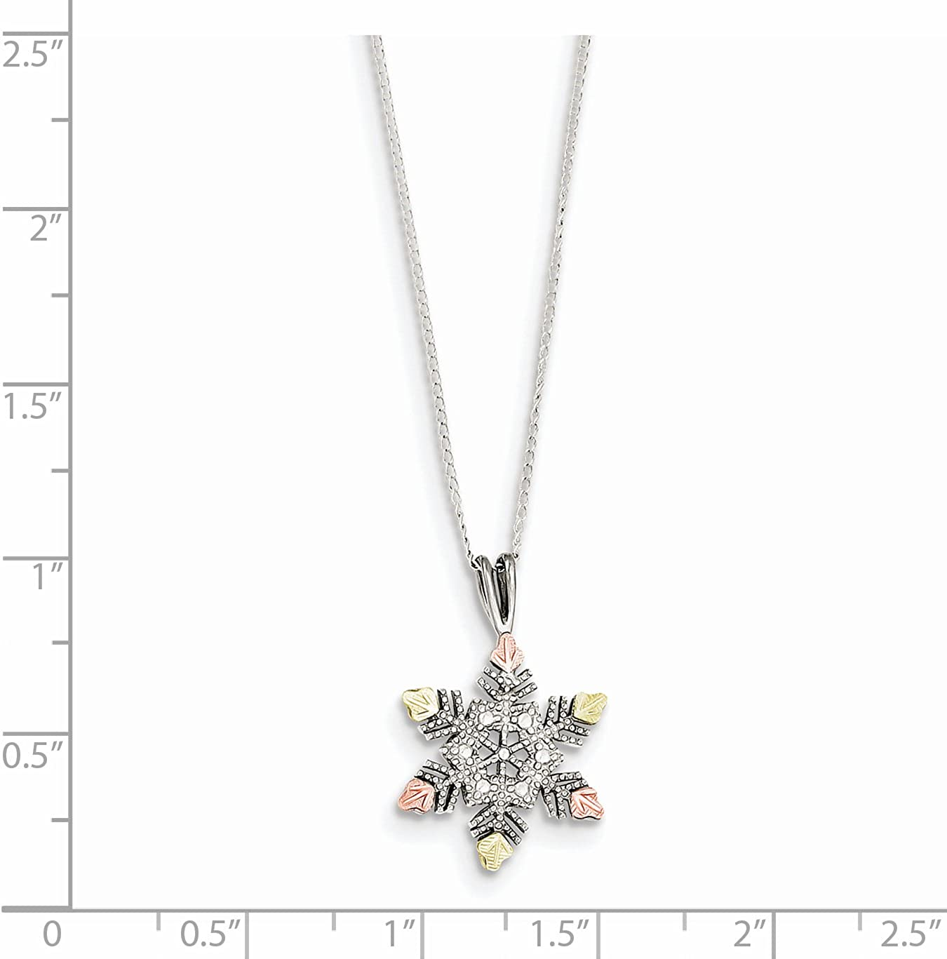 925 Sterling Silver and 12k Gold-Plated Accents Snowflake Pendant Necklace Charm Chain