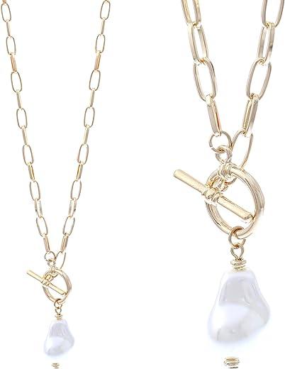 قلادة ان تي ال اكس مصنوعة من الذهب المتلألئ للنساء - لؤلؤ طبيعي ونقي - مطلي بالذهب عيار 14 قيراط - تصميمات حديثة - سلاسل ربط رقيقة وأنيقة