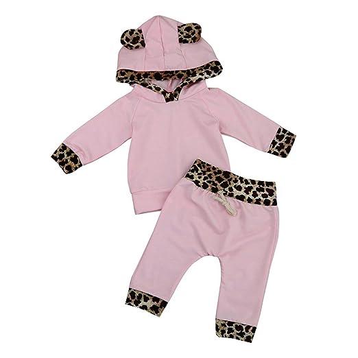 a264f843b080 Wesracia Newborn Toddler Kids Baby Girls Outfits Leopard Print Hooded Long  Sleeve T-Shirt Tops