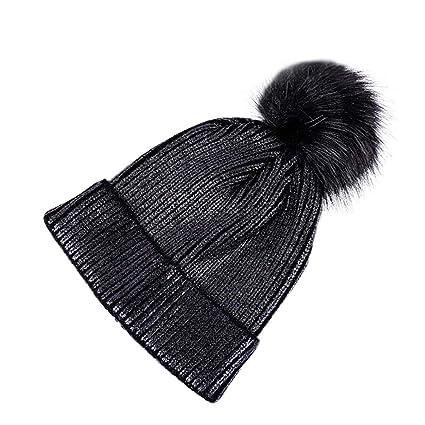 4952b902 Haluoo Metallic Glitter Beanie Winter Warm Chunky Cable Knit Pom Pom Hat  Thick Slouchy Beanie Shinny