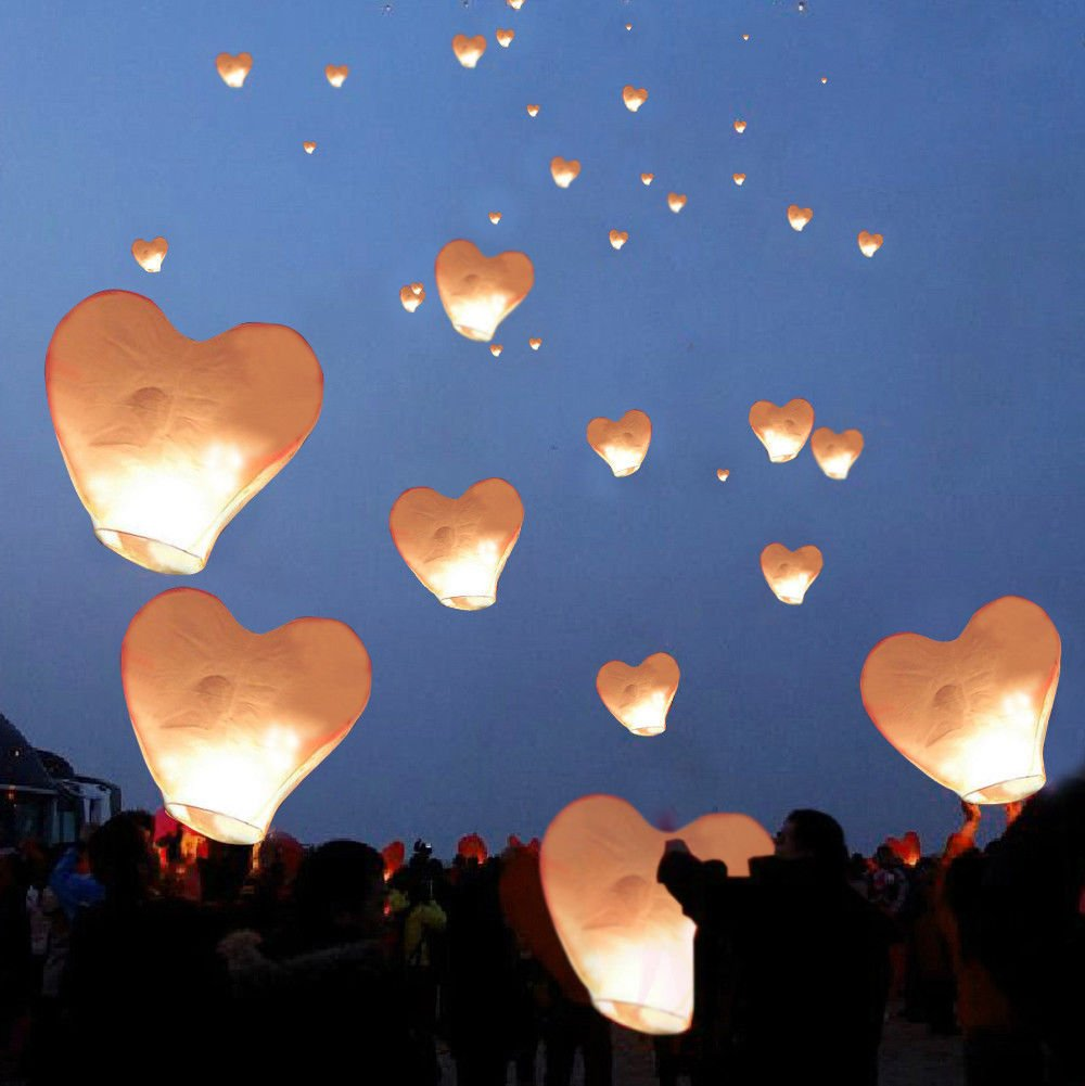 META_AOT 20 White Heart Paper Chinese Lanterns Sky Fly Candle Lamps Wishing Party Wedding by META_AOT