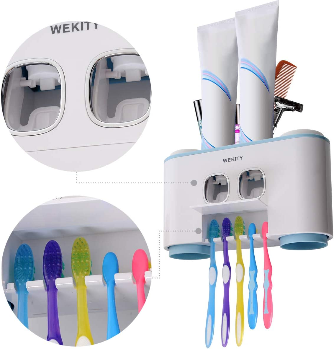 Toothbrush Holder Wall Mounted Multifunctional Toothbrush Holder for Bathroom Toothbrush Holder with Cover 6 Toothbrush Slots and 2Cups