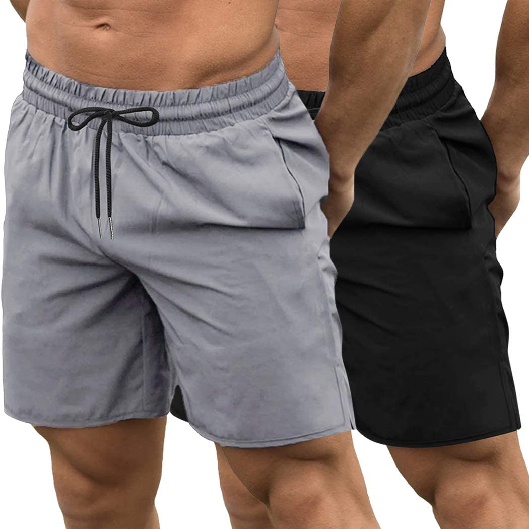COOFANDY Mens 2 Pack Gym Workout Shorts Quick Dry Bodybuilding Weightlifting Pants Training Running Jogger with Pockets