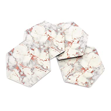Set of 4 Photo Coasters for Drinks 4 Inch Hexagon Rose Gold Marble Pattern Waterproof Top Cork Backed Durable Finish Heat Transfer Decorative Coasters Home Kitchen Office Decor