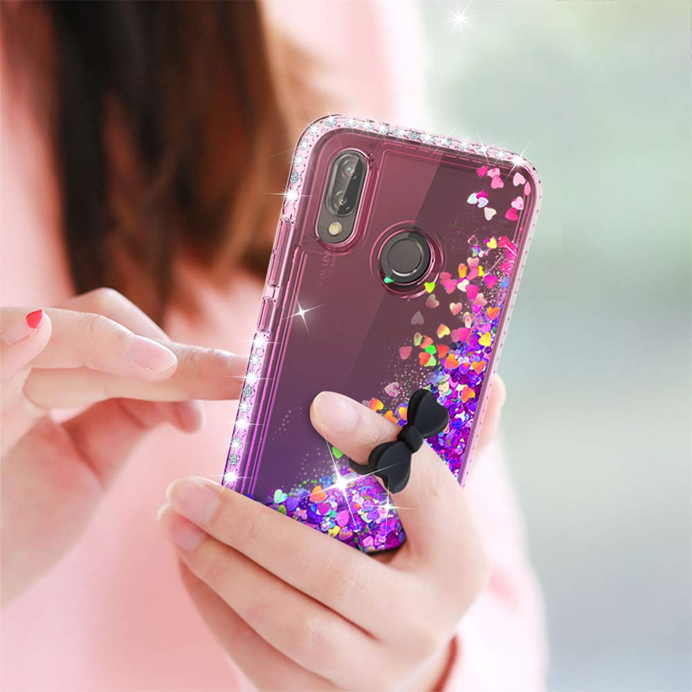 LeYi Funda Huawei P20 Lite Silicona Purpurina Carcasa con ,Transparente Cristal Bumper Telefono Fundas Case Cover para Movil Huawei P20 Lite ZX Azul//P/úrpura 2-Unidades Cristal Vidrio Templado