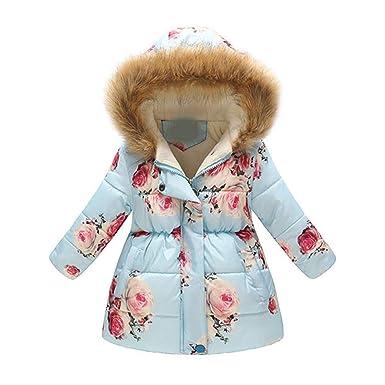 f9a4244cabdf5 3-10Ans Enfants Épaissir Manteau D Hiver Filles Mignon Impression Manteaux  Chauds Fille D
