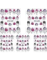 Kanggest.5 Hojas láminas de Transferencia con Agua para decoración de uñas DIY Arte de uñas Pegatinas Conjunto 3D Etiquetas engomadas del Arte del Clavo para Mujeres Niñas