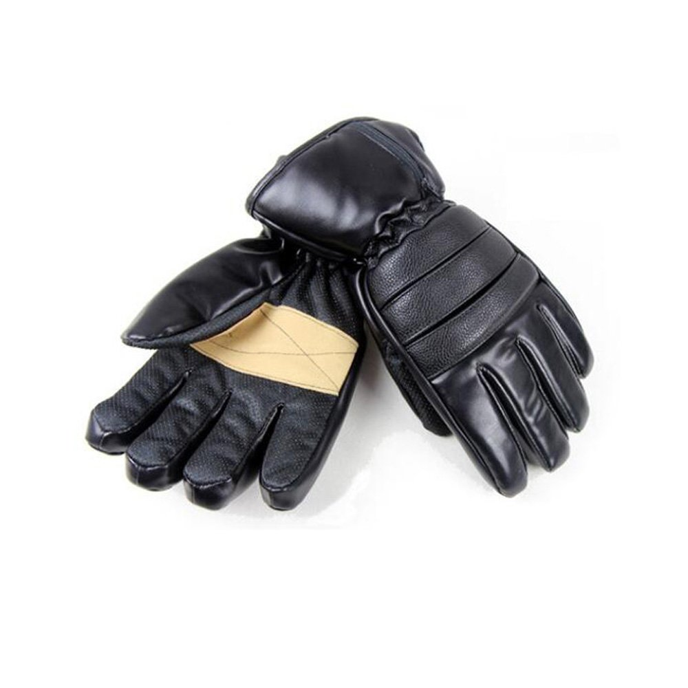 GOODKSSOP 1 Pair PU Leather Windproof Winter Ski Outdoor Work Warmer Gloves Cycling Motorcycle Bicycle Electric Heated Hands Glove with 3000mAh Rechargeable Battery (Black, M) by GOODKSSOP (Image #8)