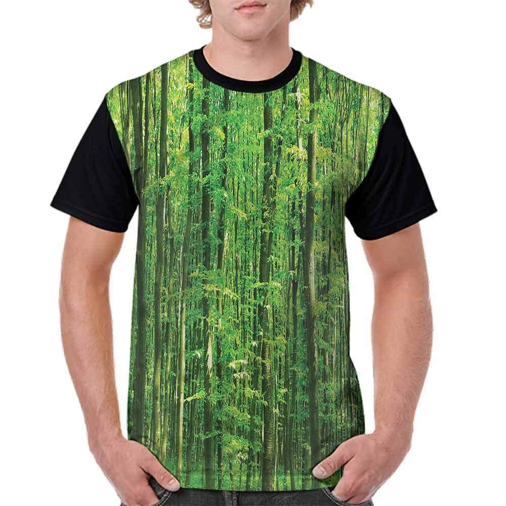 Round Neck T-Shirt,Tall Birches Relaxing Nature Fashion Personality Customization