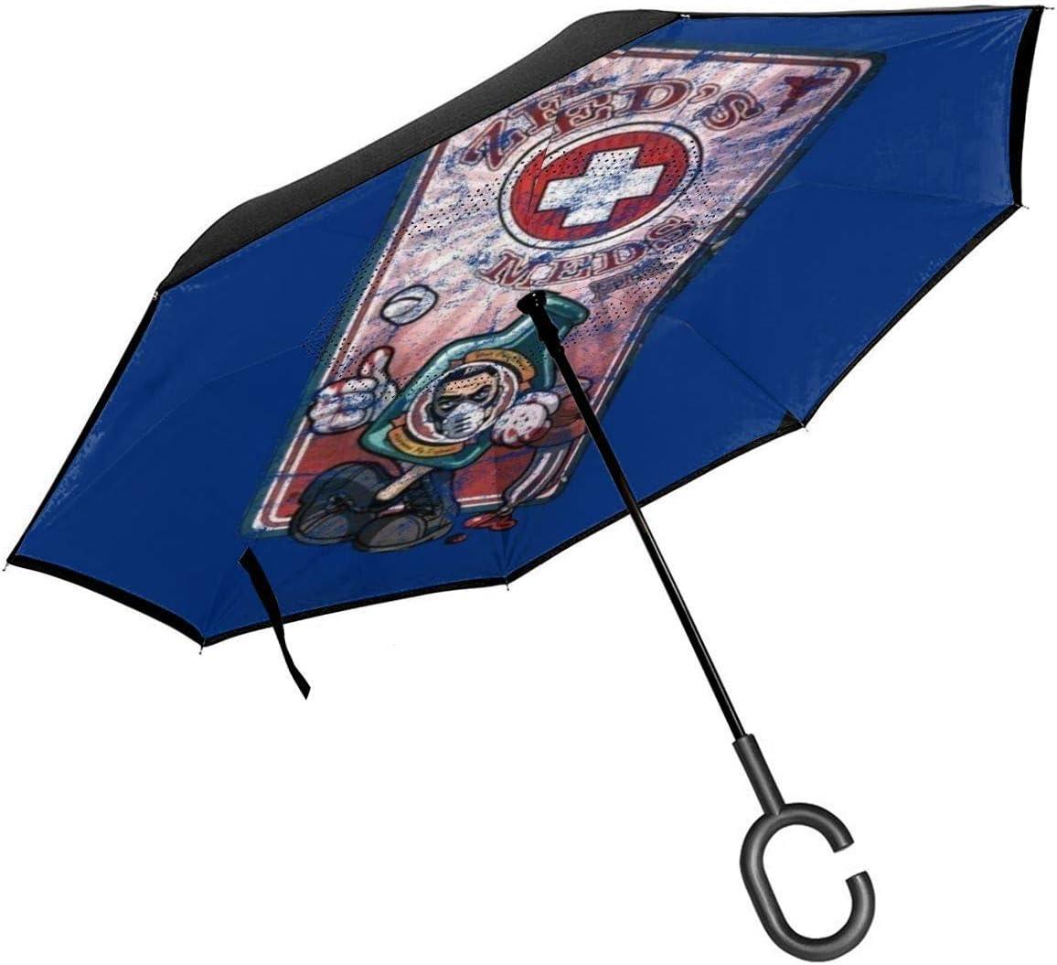 Borderlands Zeds Meds Máquina expendedora de doble capa invertida paraguas para coche reversa plegable boca abajo manos en forma de C, ligero y resistente al viento, regalo ideal