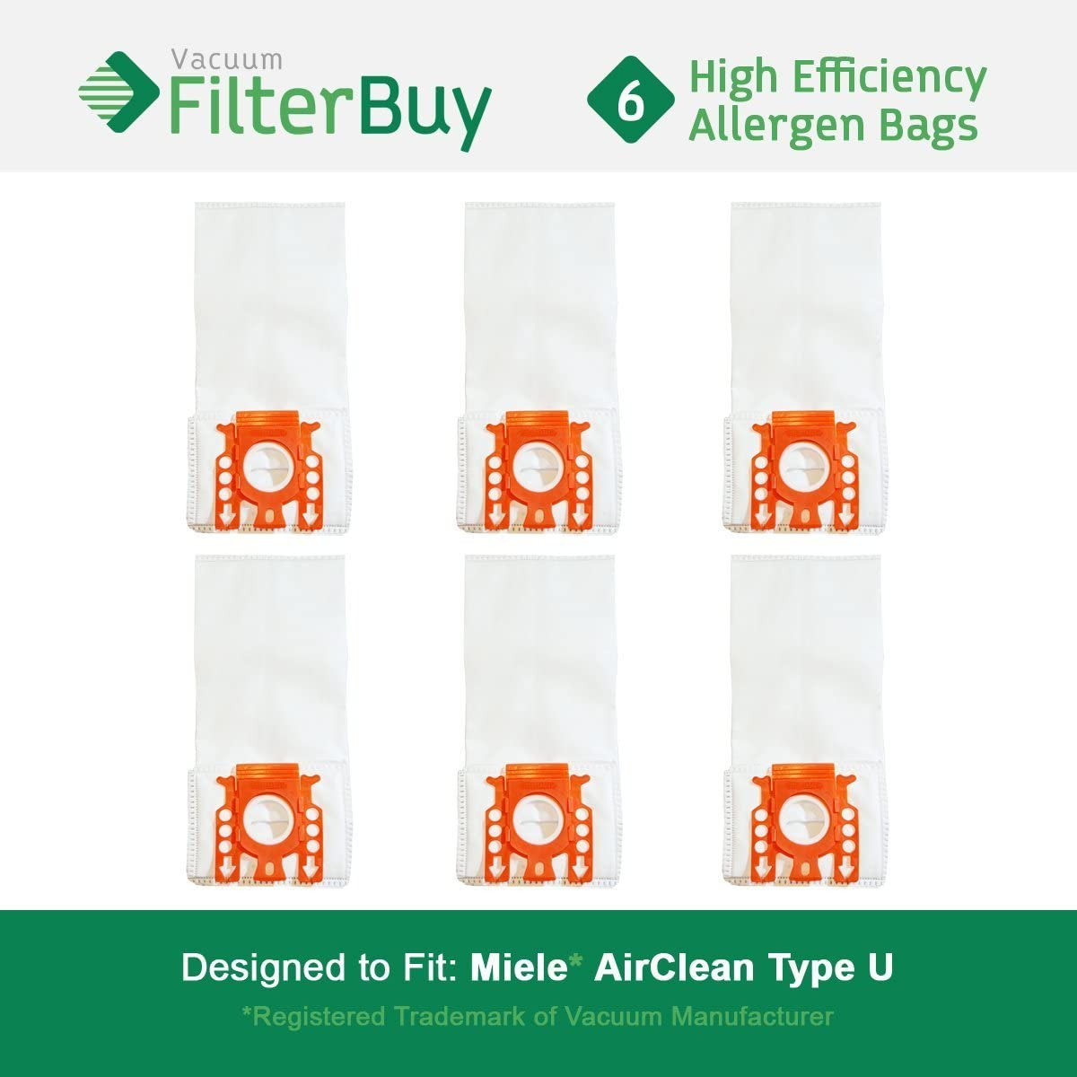 9 FilterBuy Miele Type U Replacement Vacuum Bags Designed by FilterBuy to fit Miele AirClean S7000-S7999 Upright Vacuum Cleaners LEPAC7458 Replaces Miele Part # 07282050