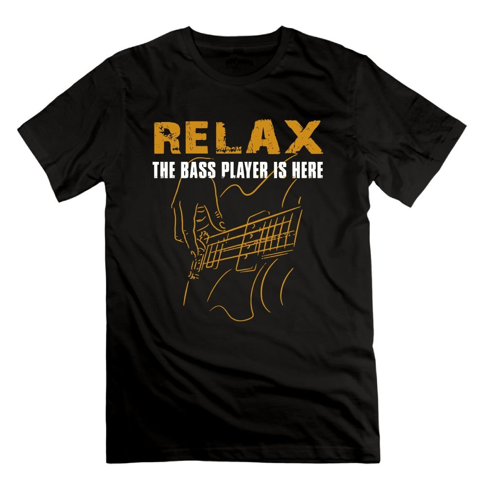 PRINTER77 Relax The Bass Player Is Here - Acoustic Electric Guitars Musician Men's T Shirt by PRINTER77