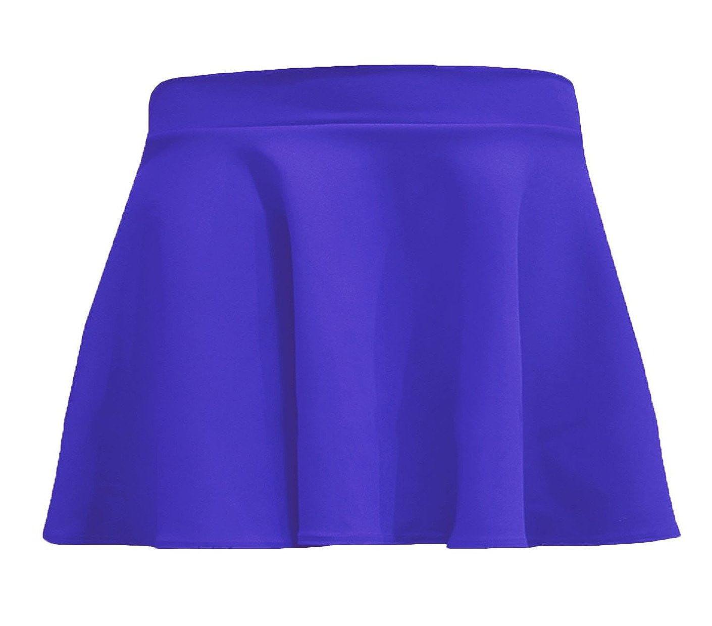 R KON Kids Girls Children HIGH Waisted Stretch Plain Flippy Flared Short Skater Skirts