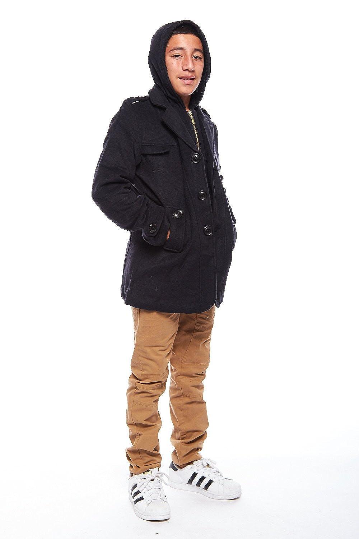 GENX Boys Kids Fashionable Fur Hooded Zipper Button Winter Wool Coat BJK1516