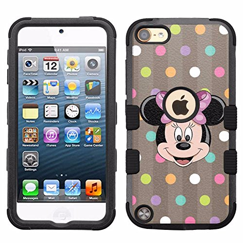 for iPod Touch 5/6, Hard+Rubber Dual Layer Hybrid Heavy-Duty Rugged Armor Cover Case - Minnie Mouse - Case Minnie Mouse 5 Ipod For