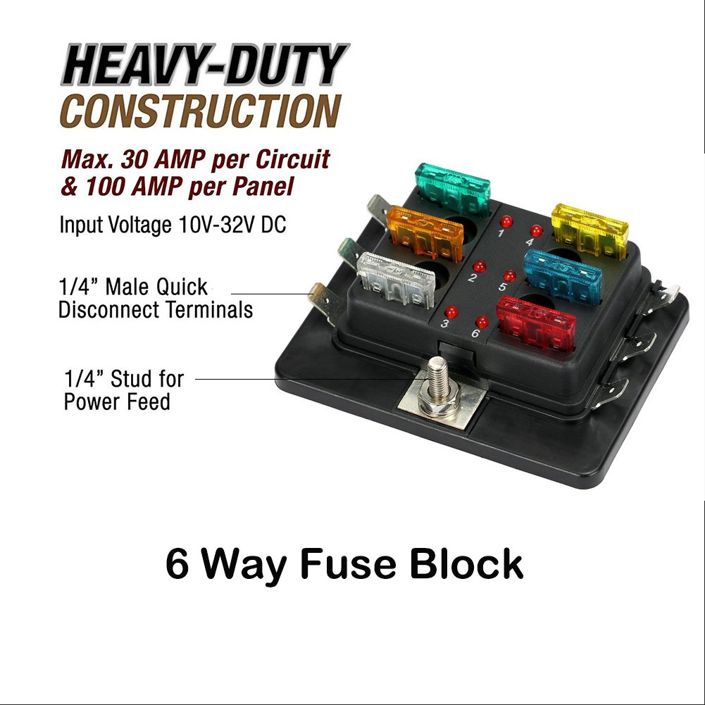 Qiilu 6 Way Fuse Box Blade Block Holder Dc 12v 24v 4 Circuit Breaker Atc Ato With And Connectors For Car Bus Truck Auto Motor Boat