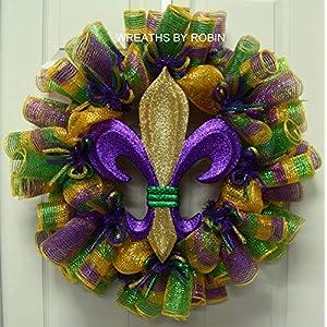 Mardi Gras, Fleur de Lis Wreath, Mardi Gras Decorations, Fat Tuesday (2462-1) 13