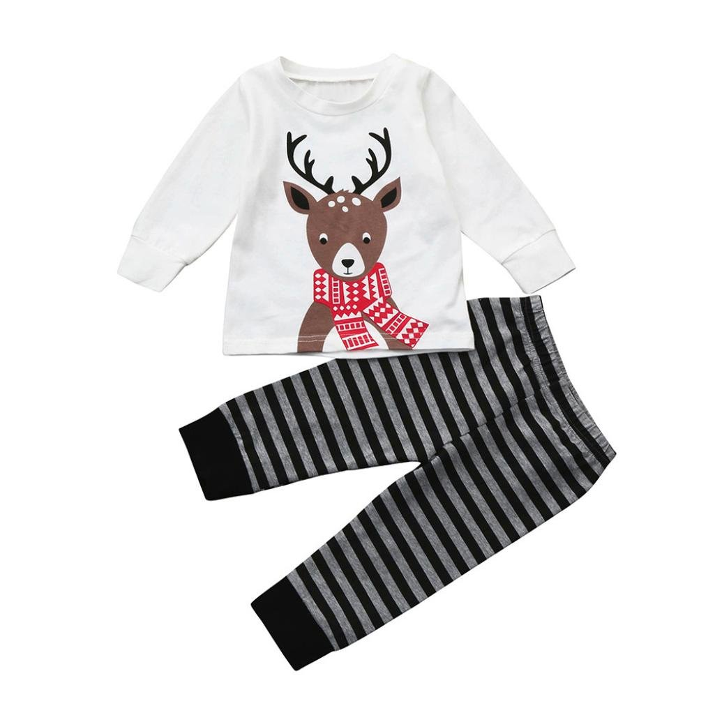 Kingko® 0~24 Months Newborn Girls Boys Christmas Scarf Reindeer Printing Tops + Stripe Long Pants Tracksuits Outfits Clothes Set
