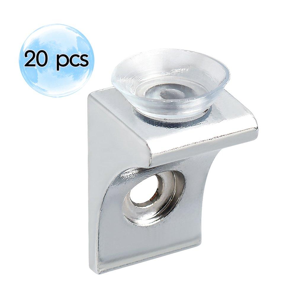 Alise 20 Pcs Mounting Brace Fixing Glass Shelf Bracket Pegs Supports with Chuck Wall Mount,BL2100-20P Chrome Finish
