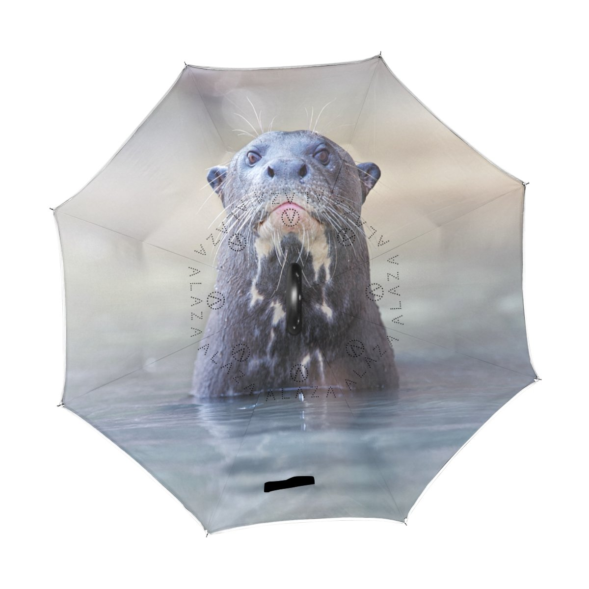ALAZA Giant River Otter naturaleza fauna agua Animal puede paraguas paraguas plegable de doble capa resistente al viento Reverse para coche con mango de ...
