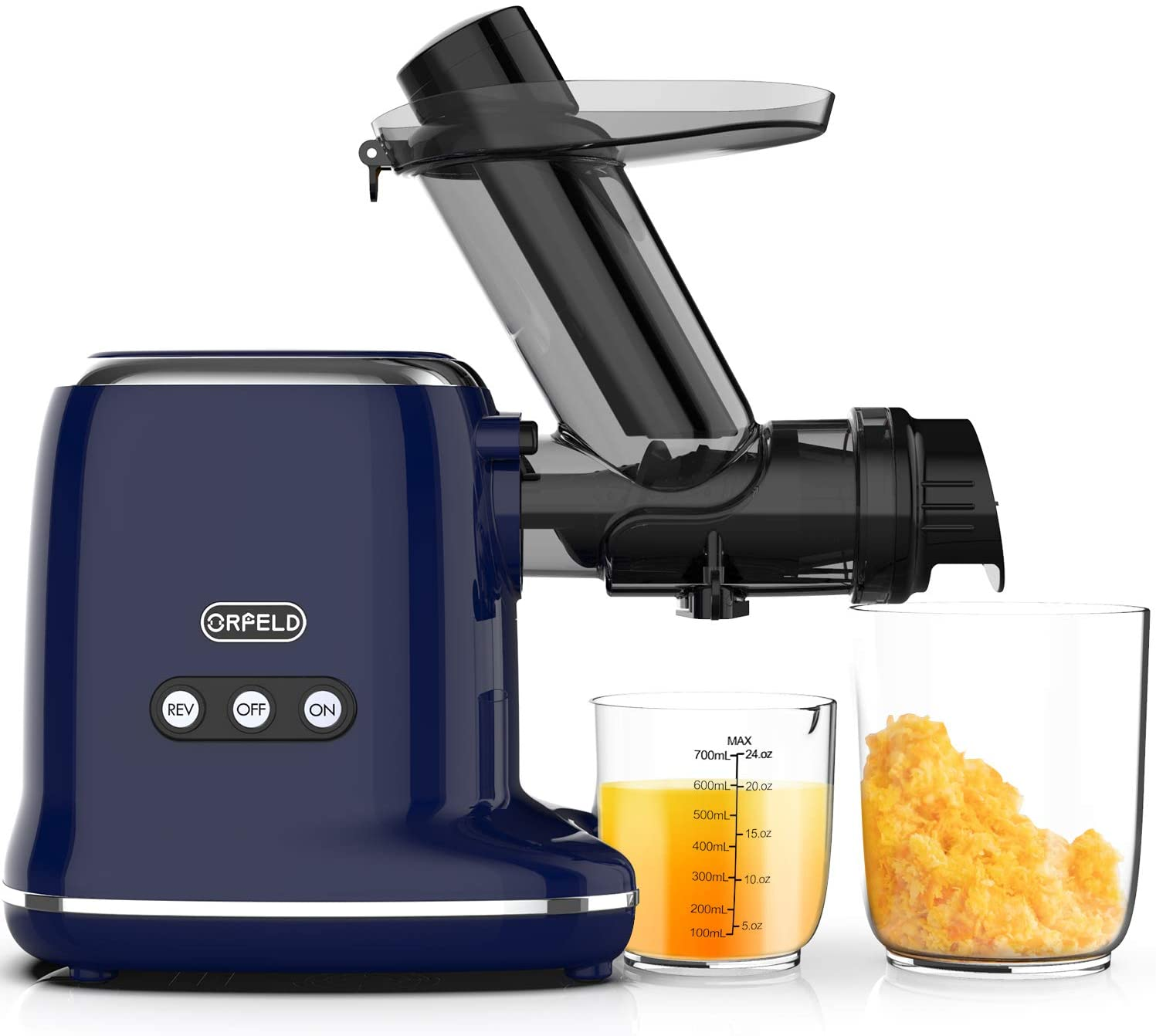 Masticating Juicer, ORFELD Slow Juicer with 90% Juice Yield & Purest Juice, Easy Cleaning with Brush & Quiet Motor Cold Pressed Electric Juicer Machine for Vegetable and Fruit (Blue)