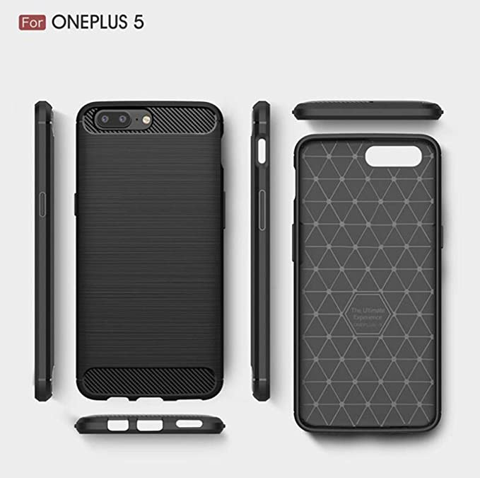 OnePlus 5 Funda, TopACE® Carcasa Protectora Back Soft Cover (Negro)