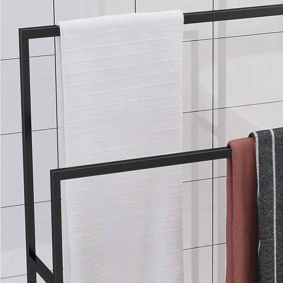 Badet/üchern Handtuchst/änder Freistehend Metall Handtuchhalter Stehend Schwarz Badehandtuchhalter mit 2 Handtuchstangen Kleiner Kleiderbutler f/ür Handt/üchern Waschlappen85x20x110