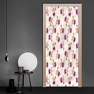 3D Door Mural Pig, Trumpet Playing Animal Jazz 3D Door Mural Decals for Home Décor 35.4 x 78.7 Inch