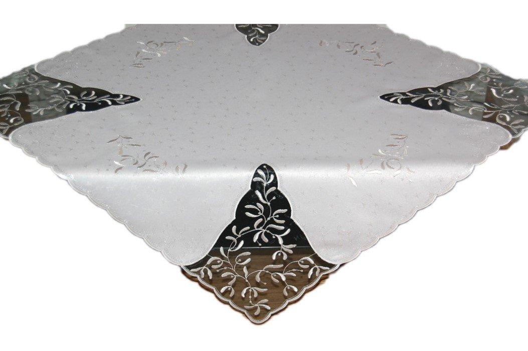 Plauener Spitze WEIHNACHTEN Tischdecke Silber Stickerei Mistel Weihnachtsdecke Germany (Mitteldecke 84x84 cm)