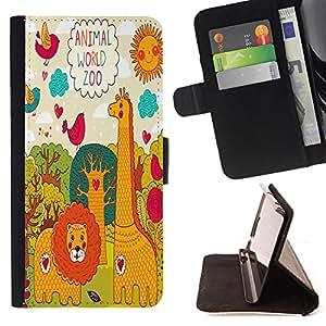 King Case - FOR Sony Xperia Z1 L39 - animal world zoo - Prima caja de la PU billetera de cuero con ranuras para tarjetas, efectivo Compartimiento desmontable y correa para la mu?eca