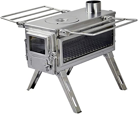 Shelters 450 Cubic Inch Firebox Winnerwell Nomad View Small Tent Stove Portable Tiny Wood Burning Stove for Tents Precision Stainless Steel Construction and Camping Includes Chimney Pipe