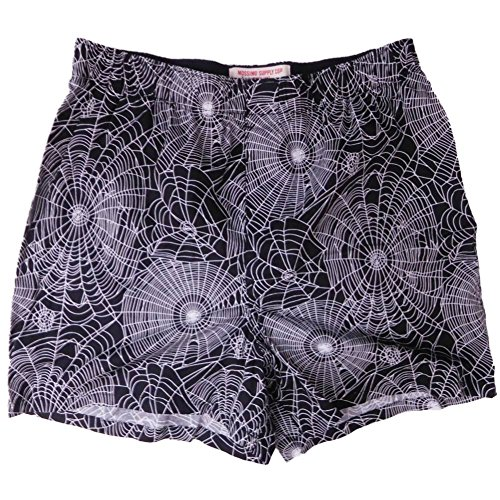 Mens Black Halloween Spider Webs Slim-Fit Boxer Shorts Small