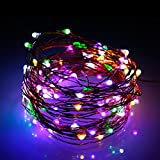 Fairy Light with 100 LEDs, Waterproof Copper Wire Starry String Lights by Battery Operated for Indoor Bedroom & Outdoor Patio Home Garden Wedding Party (33ft/10M, Muticolor)