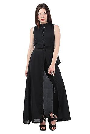adafae9186ffe4 My Swag Women's Georgette Sleeveless High Neck Cape Dress (Black, 3X-Large)