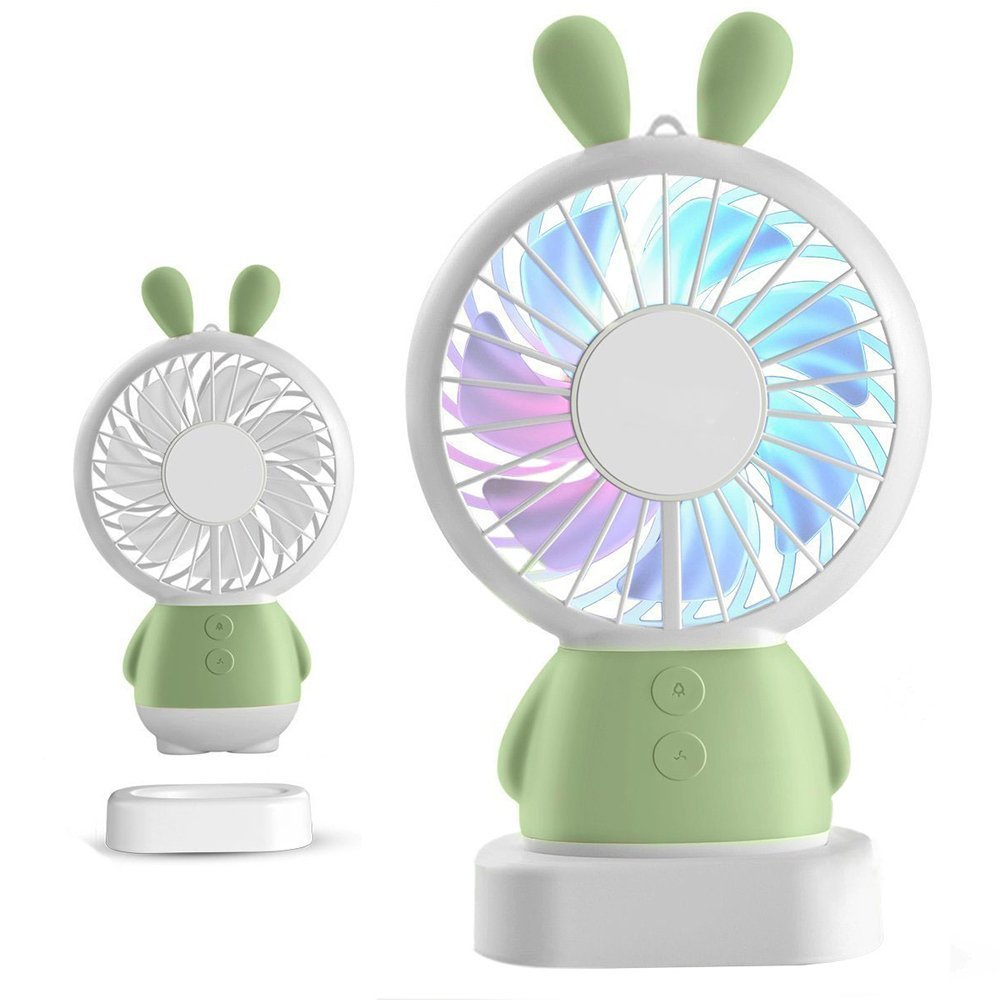 RingRingshop®® Handheld Small Fan Portable Rechargeable Mini Cooling Fan Multi-color LED Light Linglong rabbit Fan Standable Hanging Fan Gifts for Home Travel Indoor Outdoor Baby Kids (Green Rabbit)