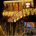 KNONEW LED Icicle Lights, 216 LEDs, 16.4ft, 8 Modes, String Fairy Light, LED String Light for Wedding Party/Christmas/Halloween/Party Backdrops