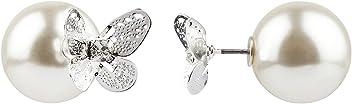 """SIX""""Trend"""" silberner Front Back Ohrring mit 3D Schmetterling und Stein als Stecker und großer Perle als Verschluß Damen Doppel Ohrschmuck (729-340)"""