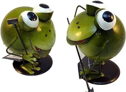 2x Metall Figur Frosch Deko Garten gr/ün Wackelfigur gl/änzend lackiert H 15-17 cm