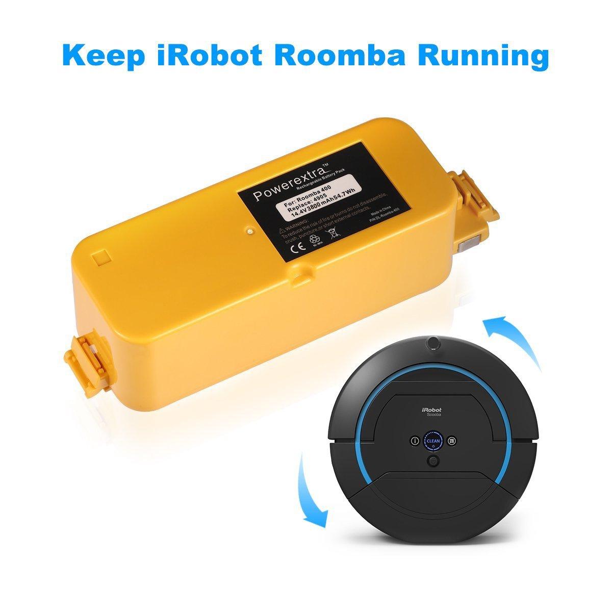 Powerextra 14,4 V 3500 mAh Ni-MH batería de repuesto para IROBOT ROOMBA 400 Series Roomba 400 405 410 415 416 418 4000 4100 4105 4110 4130 4150 4170 4188 ...