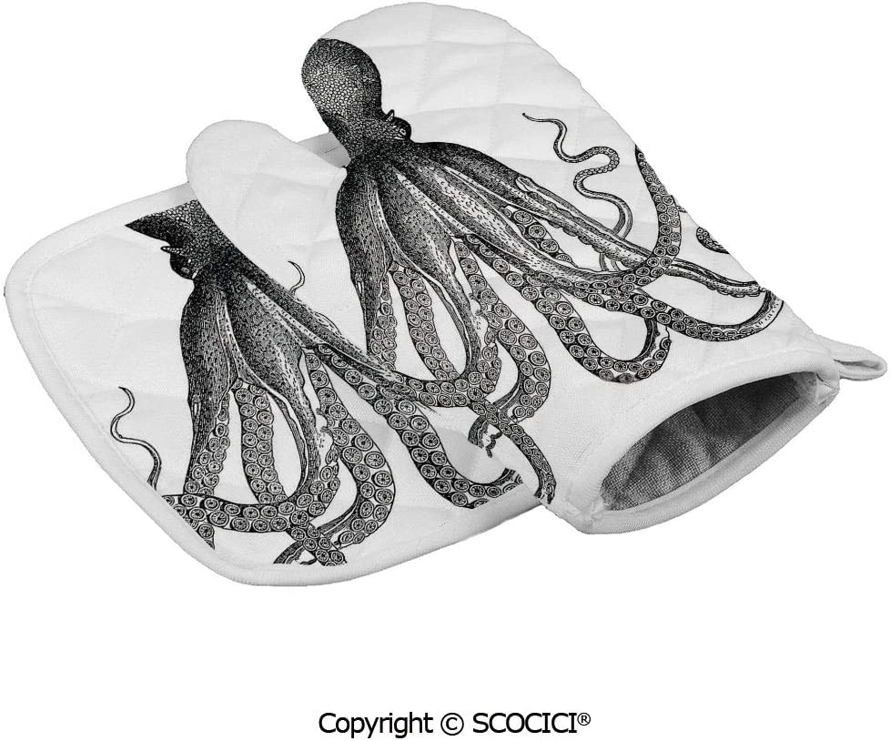 SCOCICI Oven Mitts,Professional Heat Resistant Vintage Engraved Illustration of an Octopus Sea Creature Monochrome Art Non-Slip Kitchen Oven Glove for Cooking,Baking,Barbecue Potholders