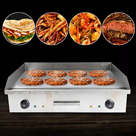 Commercial Grill Countertop Griddle 110V 4400W Electric Nonstick Home Flat Stainless Steel Restaurant Grill Cooktop BBQ Hot Plate