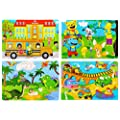 Wooden Jigsaw Puzzles Set For Kids Age 2 6 Year Old 30 Piece Colorful Wooden Puzzles For Toddler Children Learning Educational Puzzles Toys For Boys And Girls 4 Puzzles