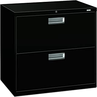"product image for HON Brigade 2-Drawer Filing Cabinet - 600 Series Lateral Metal File Cabinet, 30""W by 19-1/4""D, Black (H672)"